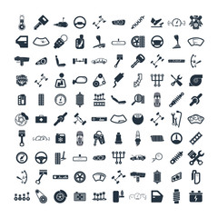Car details & garage 100 isolated icons set on white background,
