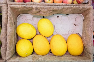 Close up of yellow melon