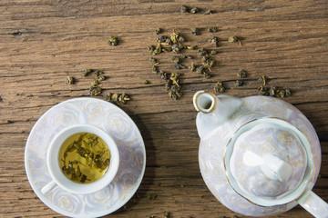 Hot tea on the table