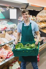 Portrait of man grocer holding a crate of vegetables
