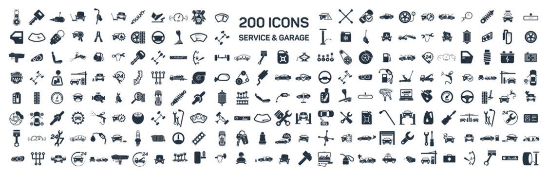 Car service & garage 200 isolated icons set on white background,
