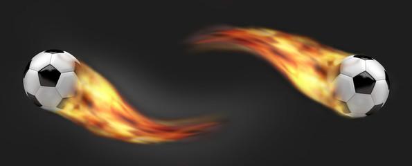 football soccer balls. burning fire flames football