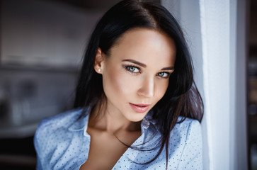 Beautiful woman portrait with green eyes