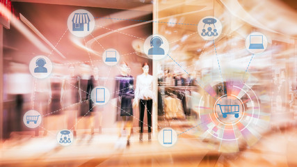 Marketing Data mangement platform and Omnichannel concept image. Omnichannel element icons on abstract Fashion stroe background. Wall mural
