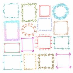 Vintage photo frames set, drawing doodle style