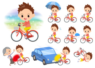 Red clothing short hair boy ride on city bicycle