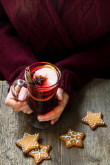 Christmas hot drink in female hands