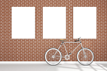 3D rendering : illustration of retro vintage bicycle and vintage metal lamp hanging on the roof against of the red brick wall.background.hipster.three white poster frame hanging on the brick wall.