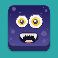 Cartoon monster in flat style.
