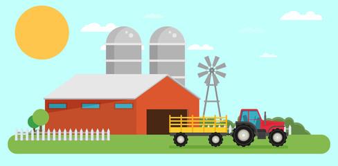 Flat design vector crop illustration. Farm, rural landscape