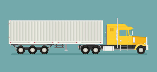 Big semi truck. Vector flat trendy illustration.