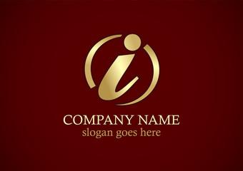 gold letter i round logo