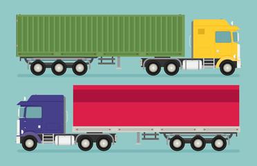 Big semi truck set. Vector flat trendy illustration.