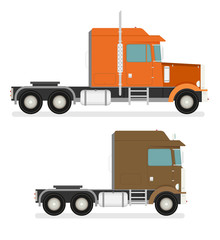Big semi truck set. Vector flat trendy illustration.
