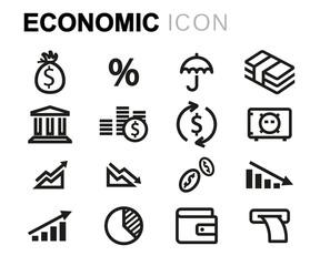 Vector line economic icons set