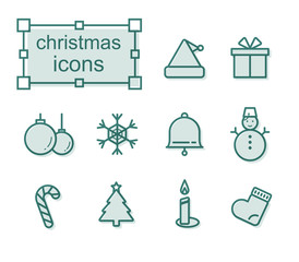 Thin line icons set, Linear symbols set, Christmas