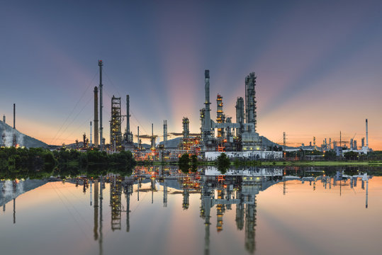 Oil refinery industry at morning skyline