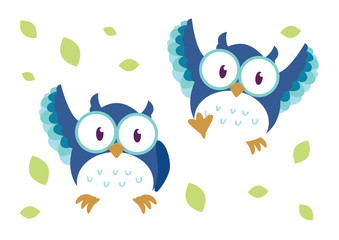cute owls character illustration design vector