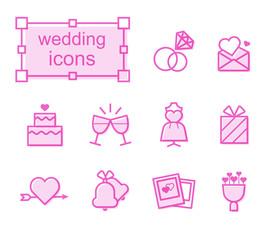 Thin line icons set, Linear symbols set, wedding-1