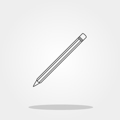 Pencil cute icon in trendy flat style isolated on grey background. School symbol for your design, logo, UI. Vector illustration, EPS10.