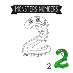 Coloring page monsters numbers for kids. Number 2 vector illustration