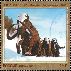 RUSSIA - CIRCA 2012: Stamp printed in Russia dedicated the contemporary Art Russia, A.N.Kovalchuk. Mammoths, 2007, circa 2012