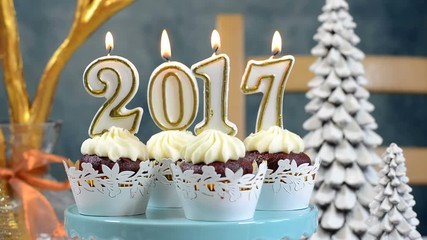 011 happy new year 2017 cupcakes on a modern stylish festive blue gold and white