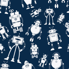 Custom blinds with your photo White robot seamless pattern on dark blue background. Vector illustration