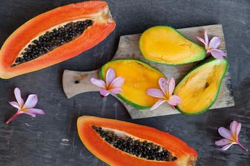 Fresh tropical fruits: papaya and mango