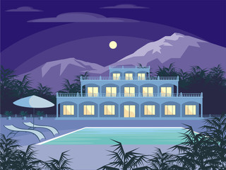Abstract image of a large, beautiful country house. Luxury Villa in the mountains surrounded by tropical plants. Vector background.