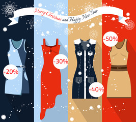 Banner Christmas Sale. Flat illustration clothes.