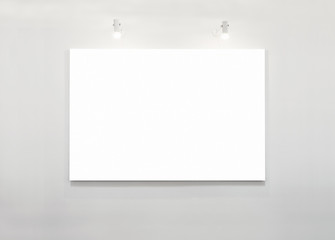 Blank Poster Banner on white Wall with Lighting Exhibition display
