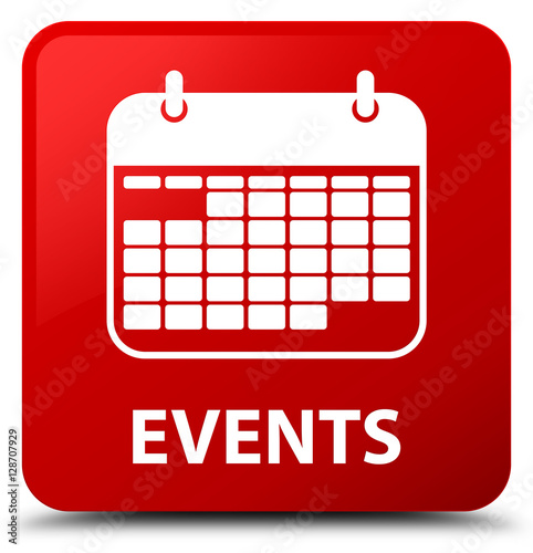Event Calendar Illustration : Quot events calendar icon red square button stock photo and