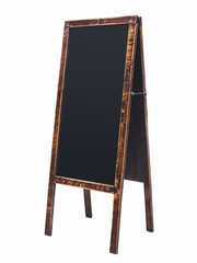 Black board Menu stand wooden Chalk board frame Isolated