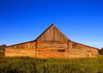 Front view of the famous T.A. Moulton Barn in Grand Teton National Park, US. This is one of the most photographed barns in the US