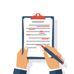 Editing documents to correct errors.