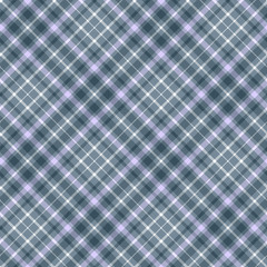Seamless tartan plaid pattern. Checkered fabric texture background in shades of teal green, grayish blue, pale blue & white.