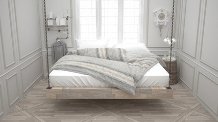 Recycled bed, hanging wooden chaise, scandinavian bedroom, white