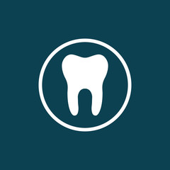tooth, stomatologist icon on blue background