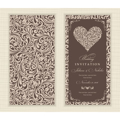 Set of 2 Wedding Invitation card with flowers and hearts.