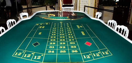 Casino. A table for the European roulette