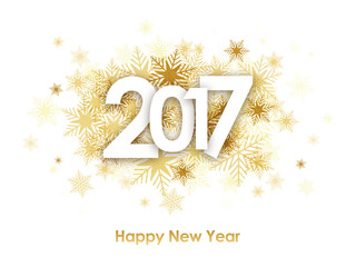 HAPPY NEW YEAR 2017 Card with Gold Snowflakes Fototapete