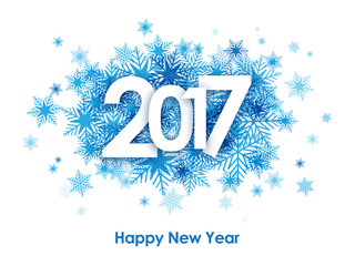 HAPPY NEW YEAR 2017 Card with Blue Snowflakes Fototapete