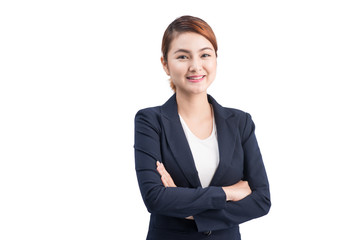Beautiful asian young business woman on white background.