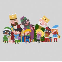 Three Magic Kings gifting children   Custom 3d illustration contact me!