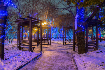 New Year and Christmas lighting decoration of the park at Serpukhovskaya square, Moscow Russia
