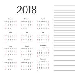 year 2018 calendar design modern calendar calendar