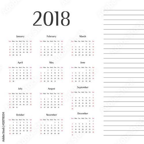 Calendar 2018. Twelve months. Year 2018. Calendar design. Modern ...