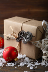 Rustic new year present with christmas decorations