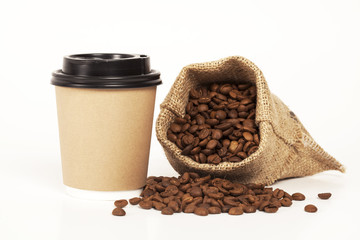 Paper cup of coffee on white background